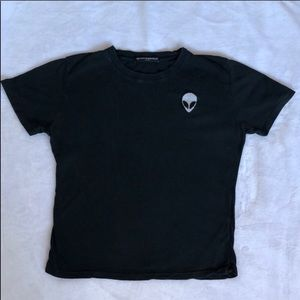 Brandy Melville Black Short Sleeved Alien Tee